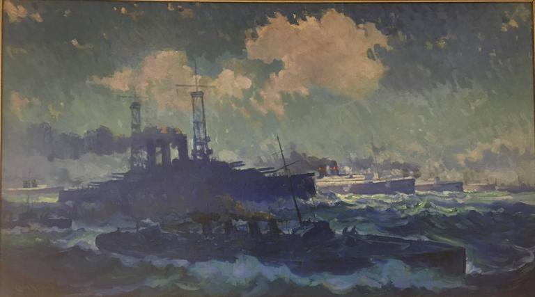 Charles Henry Grant Landscape Painting - Seascape with Warships