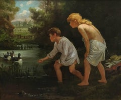 Two Children Feeding Ducks in a Pond