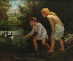 Two Children Feeding Ducks in a Pond