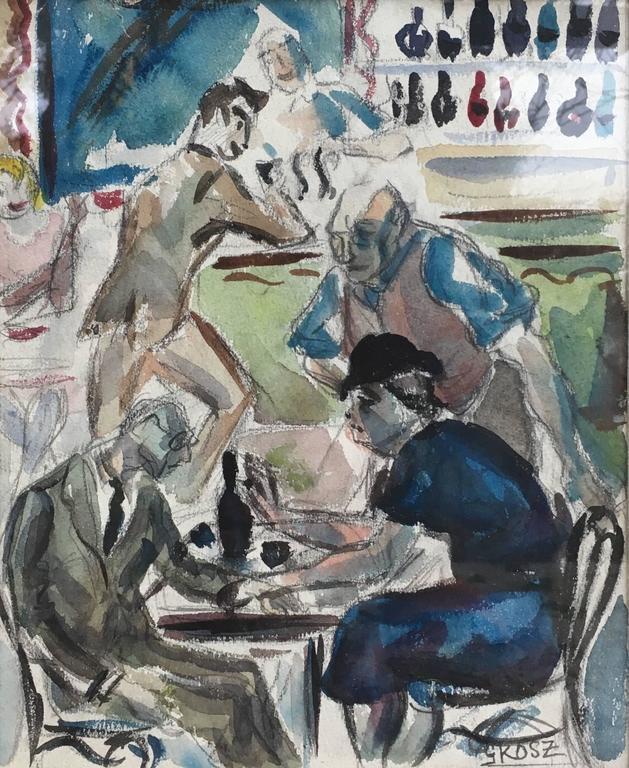 George Grosz Figurative Art - Cafe Scene