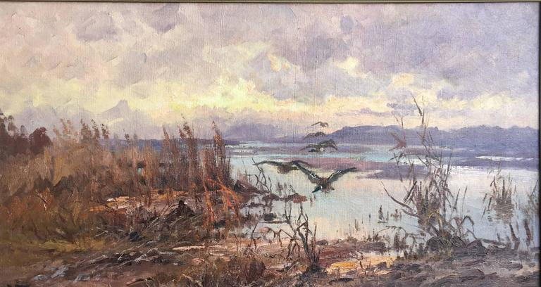 John Fery Landscape Painting - Ducks over the Marsh