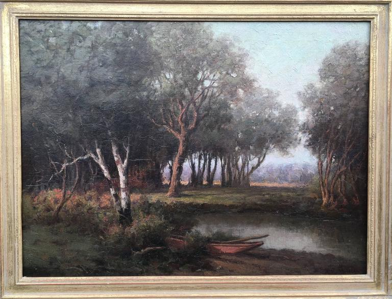Royal Milleson Landscape Painting - Woods, Stream, Rowboat with Oars