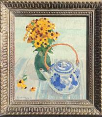 Black Eyed Susans with Teapot