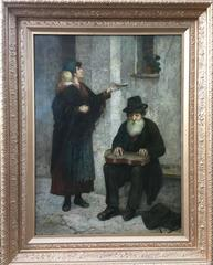 Woman, Child and Begging Bowl, Seated Jewish man with Instrument