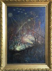 Rockets in Night Warfare (WWI night scene: soldiers marching through landscape)