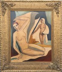 Two Nudes, One Seated, One Standing
