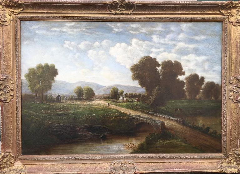Robert S. Merrill Landscape Painting - Mid-West Rural Landscape (Man Walking Along Road with Bridge)