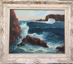 Seascape, Crashing Waves and Seagulls