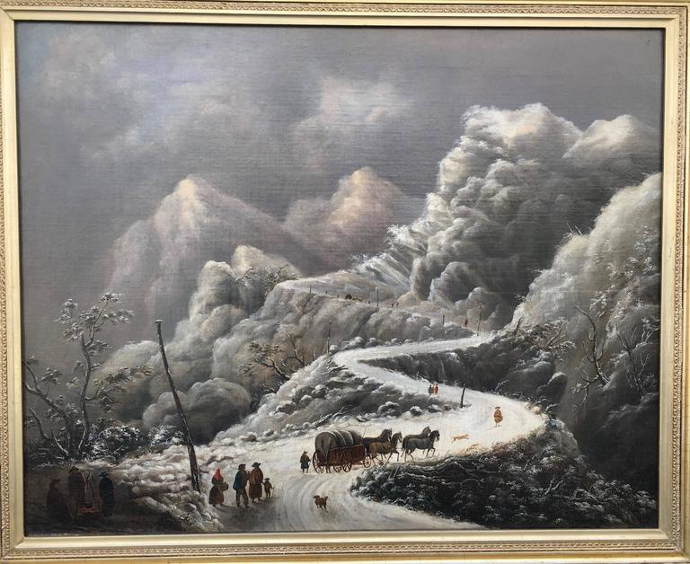 Snow Scene, Pioneers Crossing High Mountains in a Storm