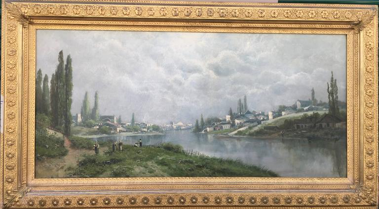 Ransome Gillett Holdridge Landscape Painting - Toward the Village on the River Seine