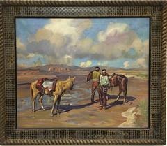 Getting ready for a Ride, Horses and Navajo Men