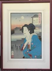 100 Visions of the Moon, Woman in a Blue Kimono and Waxing Moon