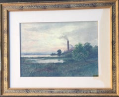 19th Century Landscape Watercolor with River and Smokestack by James Sword