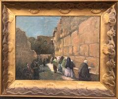 19th Century Impressionist Painting of Women Praying at Wailing Wall, Jerusalem