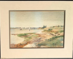 River Scene with Sailboats and Steam Driven Ferry Boats, Nineteenth Century