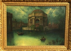 Palace of the Legion of Honor (Lagoon Night Time Scene with Small Boats)