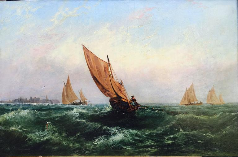 Sailboats on a Rough Sea - Painting by Unknown