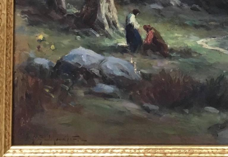 Woodland Scene with Figures - Painting by Alexis Mathew Podchernikoff
