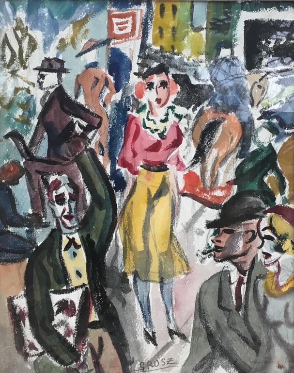 George Grosz Figurative Painting - Street Scene