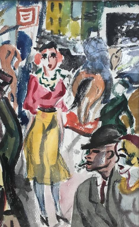 Street Scene - Painting by George Grosz