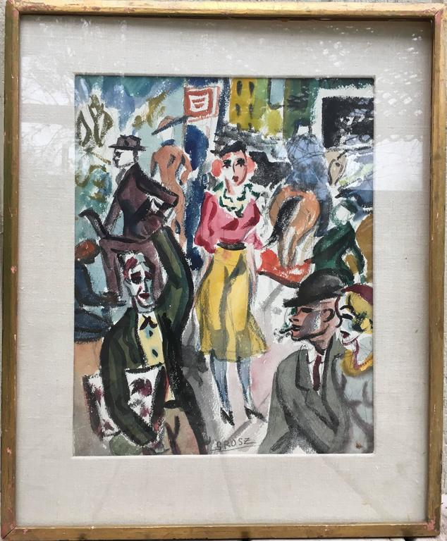 Street Scene - Dada Painting by George Grosz