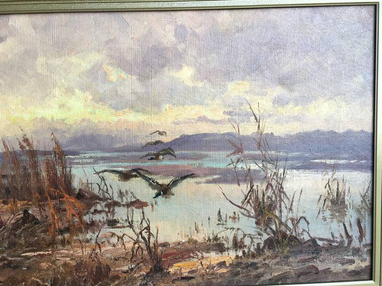 Ducks over the Marsh - Gray Landscape Painting by John Fery