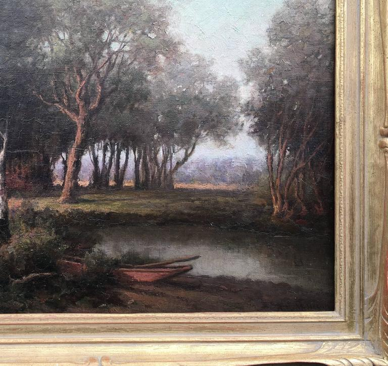 Woods, Stream, Rowboat with Oars - Painting by Royal Milleson