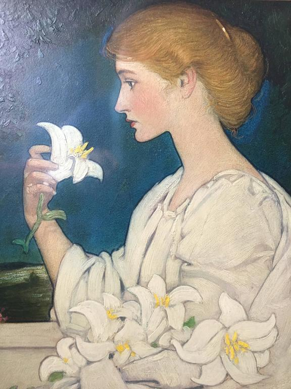 Blendon Reed Campbell Portrait Painting - Art Nouvau Beauty with Lilies
