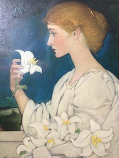 Art Nouvau Beauty with Lilies