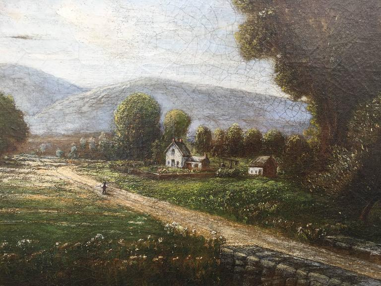 Mid-West Rural Landscape (Man Walking Along Road with Bridge) - Painting by Robert S. Merrill