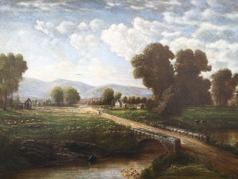 Mid-West Rural Landscape (Man Walking Along Road with Bridge) - American Realist Painting by Robert S. Merrill