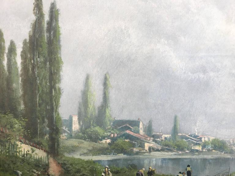Toward the Village on the River Seine - Painting by Ransome Gillett Holdridge