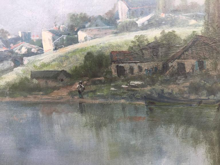 Toward the Village on the River Seine - Barbizon School Painting by Ransome Gillett Holdridge