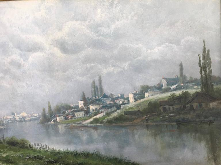 Toward the Village on the River Seine - Brown Landscape Painting by Ransome Gillett Holdridge