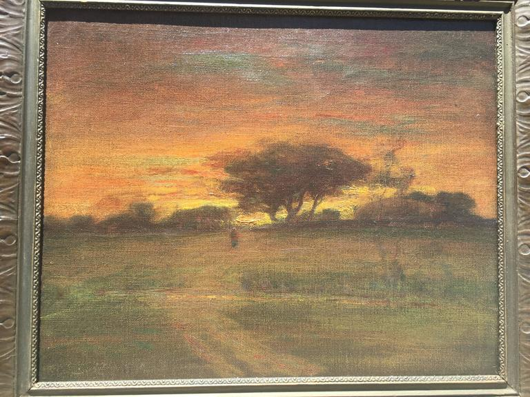 Sunset with Figure Walking into Village with Stream in the foreground - Painting by George Inness