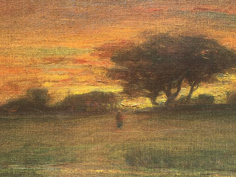 Sunset with Figure Walking into Village with Stream in the foreground - Brown Landscape Painting by George Inness