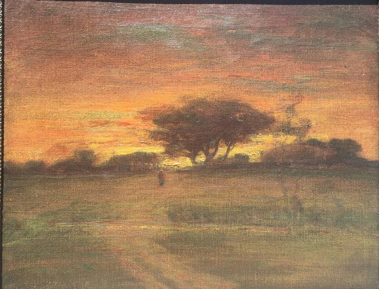 George Inness Landscape Painting - Sunset with Figure Walking into Village with Stream in the foreground