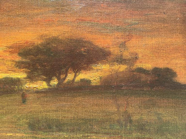 Sunset with Figure Walking into Village with Stream in the foreground For Sale 2