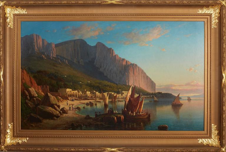 Virgil Williams Landscape Painting - Coral Boats Off Capri