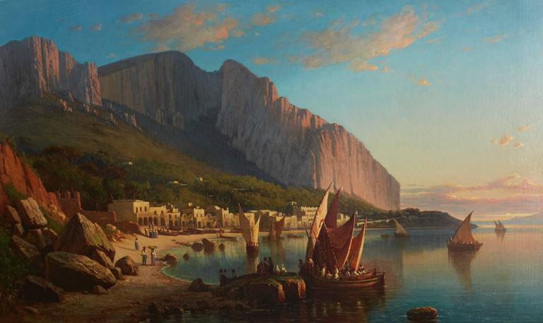 Coral Boats Off Capri - Painting by Virgil Williams