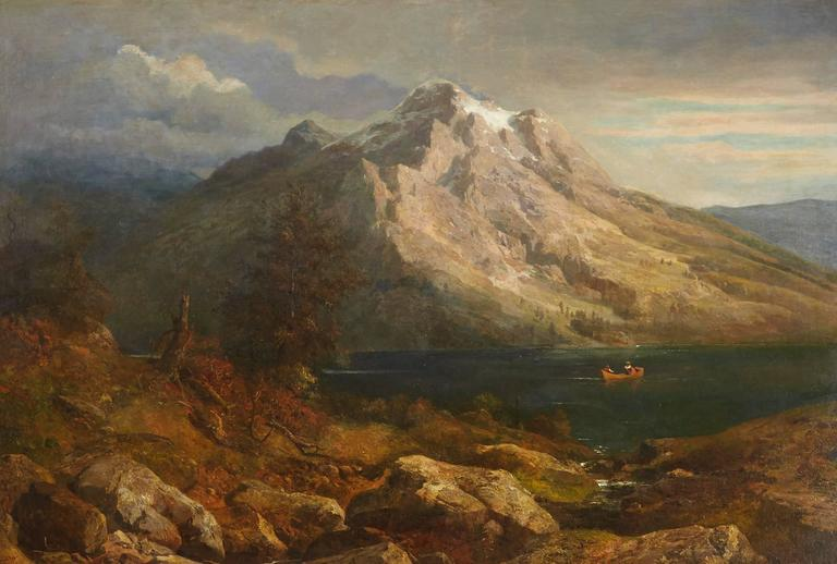 Sunset at a Mountain Lake - Painting by Hans Heinrich Jurgen Brandes