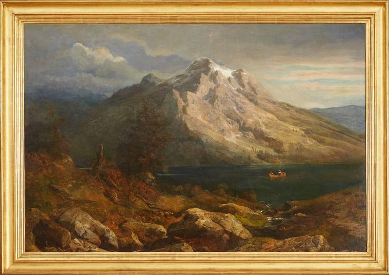 Hans Heinrich Jurgen Brandes Landscape Painting - Sunset at a Mountain Lake
