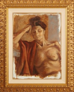 Nude Woman with Cloth Draped over Shoulder