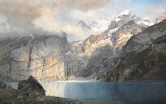 Oeschinen lake in Berner-Oberland, Switzerland