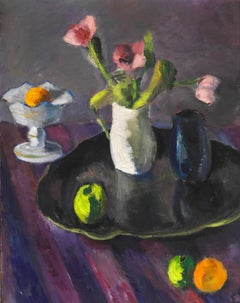 Still life with flowers, fruit, and vases