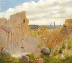 Landscape with a clay slope in the foreground