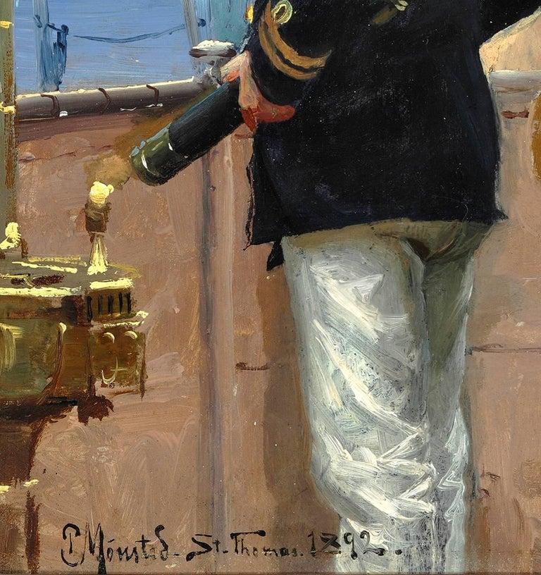 Count Christian Valdemar Danneskiold-Samsoe on the deck of the St. Thomas - Painting by Peder Mørk Mønsted