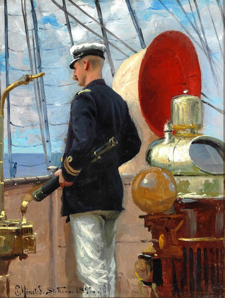 Peder Mørk Mønsted Figurative Painting - Count Christian Valdemar Danneskiold-Samsoe on the deck of the St. Thomas