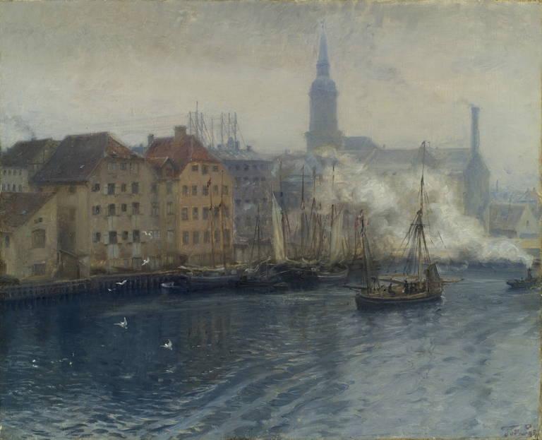 Peter Tom-Petersen Landscape Painting - View of Copenhagen harbor