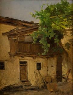 Motive of a house in Meran, near Tyrol. Circa 1850.